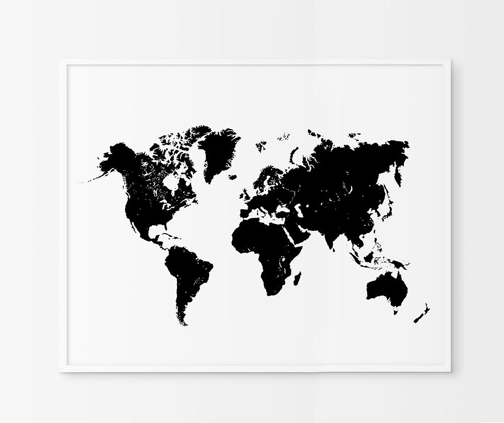 World Map Black Print Black Map Black Map Of By