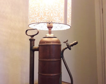 Upcycled, Vintage copper garden sprayer lamp