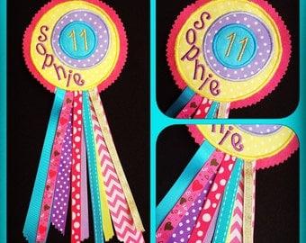 Birthday Rosette, Personalised Badge, Birthday Badge, First 1st Birthday Badge, Birthday Keepsake, Age Badge, Birthday gift, Personalized
