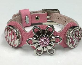 Pretty in Pink Leather Wrap Bracelet