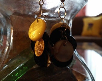 cluster,gold,black,cluster errings