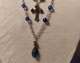 layered,blue crystal pendant,cross necklace with gems
