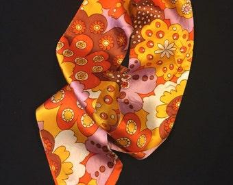Vintage Scarf. Hair Tie. Vintage Orange scarf. Orange Floral Scarf. Flower Power Scarf. Retro Scarf. Floral Scarf.
