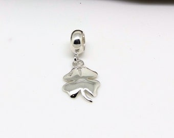 sterling silver bead charm four leaf clover