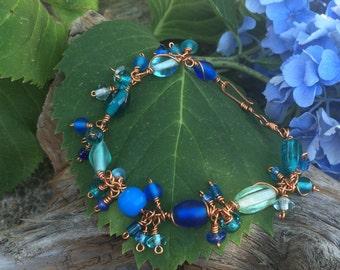 Bracelet, Beaded Bracelet, Blue Beaded Charm Bracelet, Copper Bracelet,