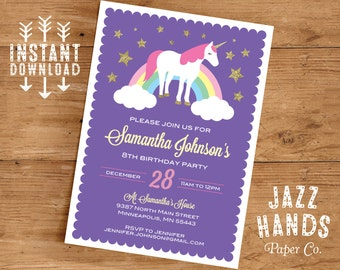 Unicorn Birthday Invitation Template | DIY Printable | Unicorn Party Invitation | Unicorns | Rainbows | Instant Download