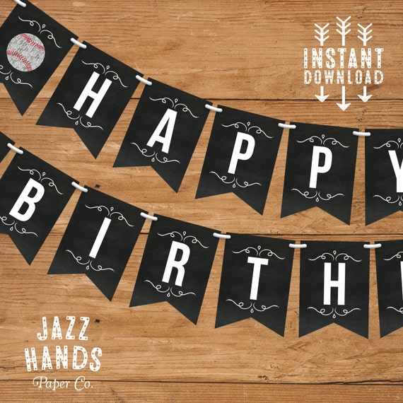 baseball birthday banner template diy printable baseball birthday party vintage baseball. Black Bedroom Furniture Sets. Home Design Ideas