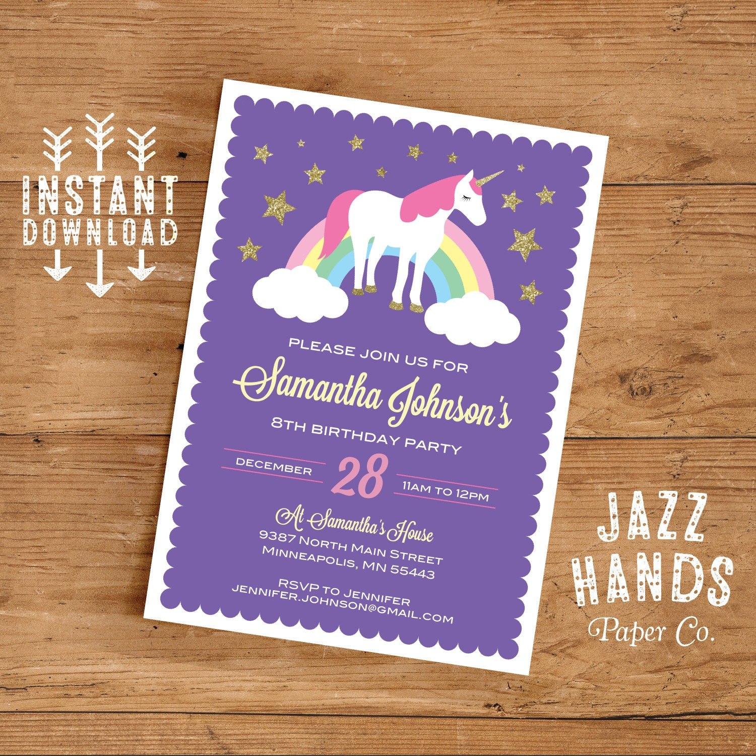 Unicorn Birthday Invitation Template DIY Printable – Unicorn Birthday Party Invitations