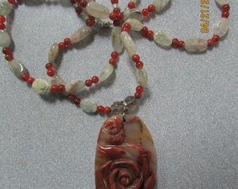 Natural Rutilated Red Carved Rose pendant Quartz Handmade Necklace