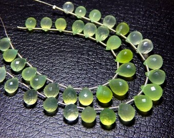 Green Chalcedony Faceted Teardrop Beads 1.String 19.Pcs - Size 6x8 to 8.5x11.5 mm Approx - Code - 0325