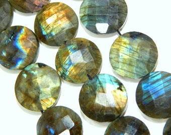 Blue Flash Labradorite gemstone Faceted Coin Beads Size 13.5x12.mm Approx Code - 0377