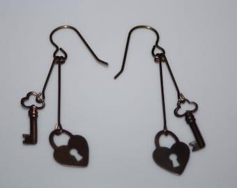Heart Lock & Key Earrings