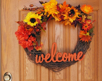 Welcome Autumn/Fall Wreath/ Fall Flowers Wreath/ Thanksgiving Wreath/ Holiday Wreath