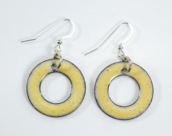 Yellow Hoop Metal Enameling Earrings Silver Filled Metal Earrings Round Hoop Earrings