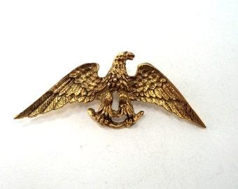 USA Patriotic Eagle Brooch Antique Gold Tone