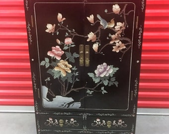Asian Black Lacquer Inlaid Buffet Cabinet