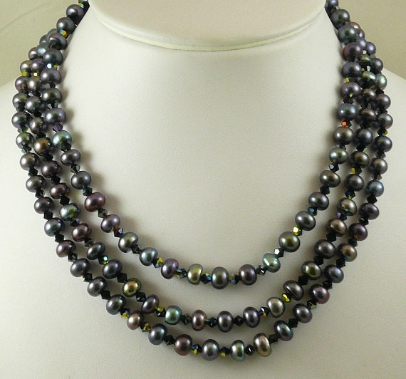 Freshwater Black 7.7 mm to 7.9 mm Pearl & Crystals Triple Strand Necklace