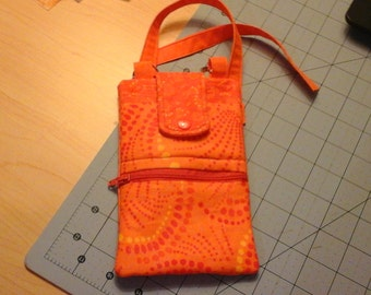 Cell Phone Purse, Crossbody, Orange,