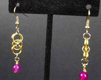 Golden Chainmaille Earrings with Purple Bead - E0047