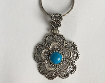 925 Solid Sterling Silver, Turquoise Stone, Filigree Pendant