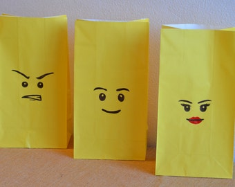 Lego Inspired Party Bags - Lego Faces/Emotions - Birthday Party Favour Loot Bags - Set of 12