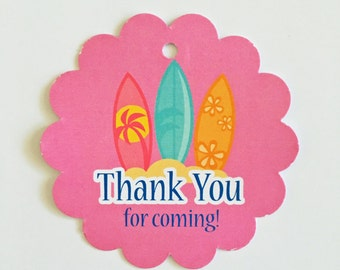 12 Surf theme Girl Thank you Birthday party favor tags