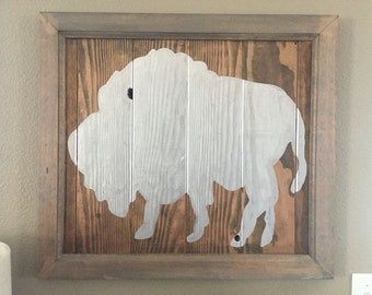 Water buffalo painting on salvaged wood
