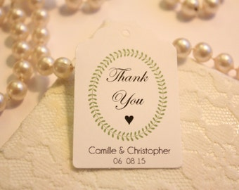 Custom Wedding Thank You Tags, Set of 20 Personalized Wedding Favour Tags, White Paper Wedding Favour Tags, Simple Paper Gift Tags