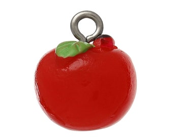 4 Red Apple Charms, 3D Resin (1I-186)