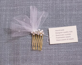Tulle, Swarovski, pearl bridal hair comb || Wedding || 005