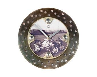 Custom wall clock, motorcycle clock, motorcycle gift, photo clock, unique clock, unique gift, mancave clock, industrial wall clock