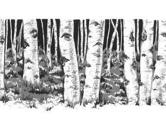 Birch Grove -grey tone illustration, birch trees and woods