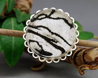 Vertigo - wearable art, brooch, pin, OOAK, print, drawing, art pin, engraving, art badge, collectable, gift, miniature art, scarf pin