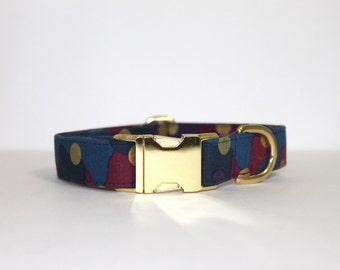 Mulberry and Gold Camo Dog Collar