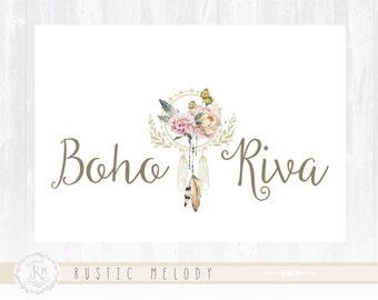 Floral Logo Design Photography Logo Boho Chic Logo Design Watercolor Logo Boutique Logo Shabby Chic Logo