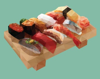 Nigiri Sushi Platter Polygon Art. Instant Download Digital Print, Wall Decor, Printable Art.
