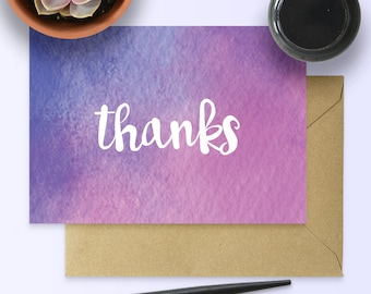 Watercolour Thank-You Card - Printable Card