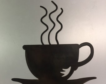 Coffee Metal Wall Art coffee cup decor | etsy