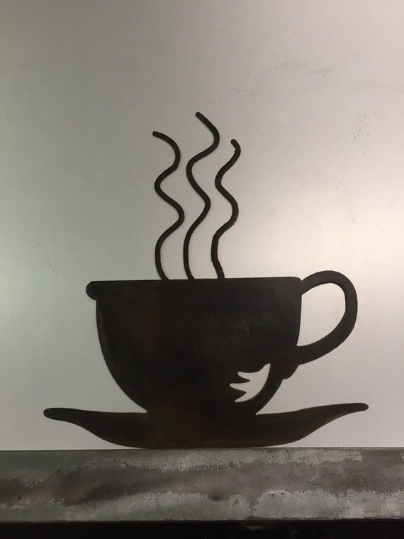 Coffee metal wall art decor shop mug tea cup breakfast for Tea and coffee wall art