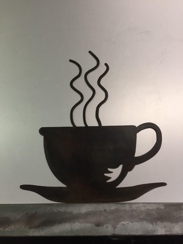 Coffee Metal Wall Art Decor Shop Mug Tea Cup Breakfast