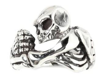 Skull Skeleton Hug 925 Sterling Silver Ring Gothic Biker Jewelry