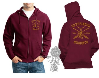 CAPTAIN - Gryffin Quidditch team Captain Yellow print printed on Maroon Zipper Hoodie