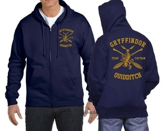 Gryffin Quidditch team Captain Yellow print printed on NAVY Zipper Hoodie