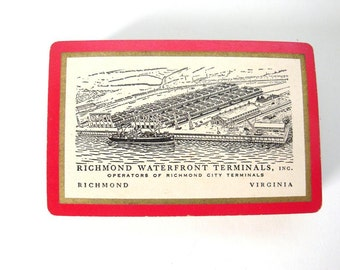Vintage playing cards. Richmond Waterfront Terminals Inc Souvenir. Richmond Virginia. Standard size deck 52 cards are all there. No Jokers