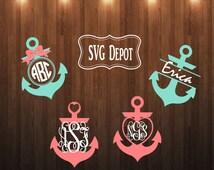 Anchor Monogram Svg group, svg file, anchor digital file, split anchor file