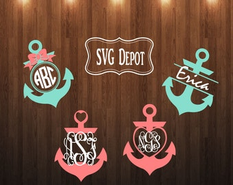 Anchor Monogram Svg group, svg file, anchor digital file, split anchor file