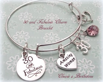 30th birthday gift etsy 30th birthday gift 30 and fabulous charm bracelet birthday gift for girlfriend best negle Images