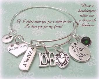 Sister in Law Charm Bracelet, Gift for Sister in Law, , Wedding Gift for New Sister-in-Law, Personalized Gift, Bridal Gift, Wedding Gift