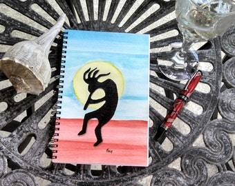 Spiral Notebook; Wire Bound Spiral Journal; Writing Journal; Hand Painted Blank Notebook; Small Sketchbook; Kachina Silhouette