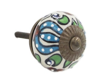 Trishul Flower Blue Ceramic Knob Pull for Dresser, Drawer, Cabinet or Door - i609
